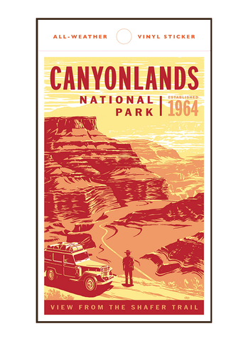 Illustration of vintage car at Canyonlands National Park