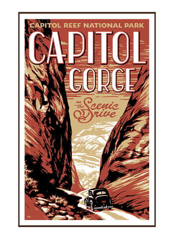 Illustration of vintage car at Capitol Reef National Park