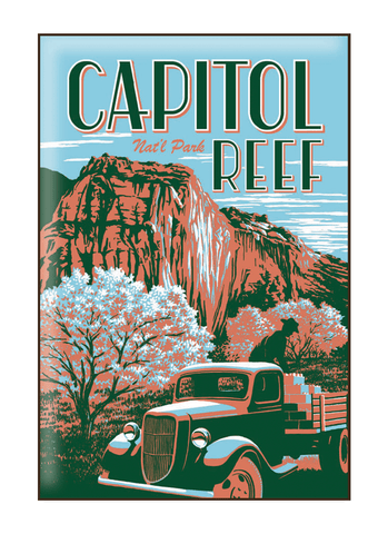 Illustration of vintage truck at Capitol Reef National Park