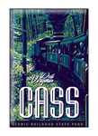 Vintage-style illustration of train at Cass Scenic Railroad State Park