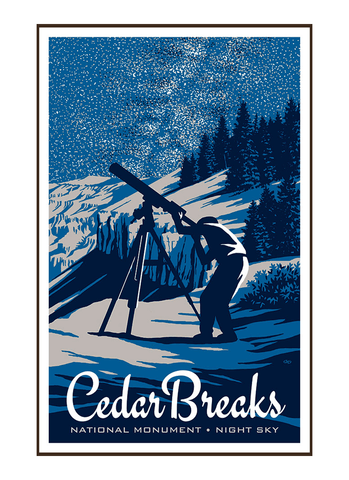 Illustration of star-gazer and telescope at Cedar Breaks National Monument
