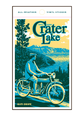Vintage-style illustration of man on motorcycle at Crater Lake National Park