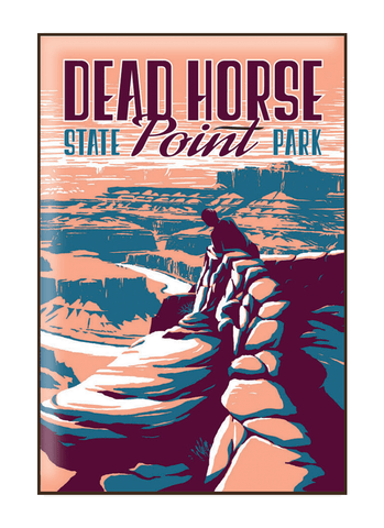 Illustration of tourist at Dead Horse State Park