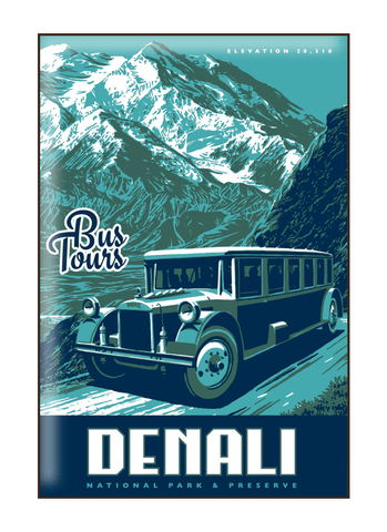 Illustration of vintage bus at Denali National Park