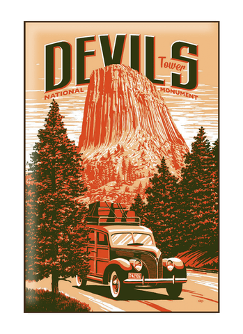 Illustration of vintage car at Devils Tower National Monument