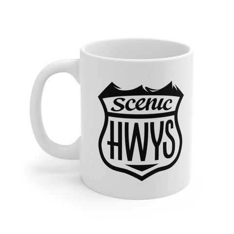Front view of white mug with Scenic Hwys logo