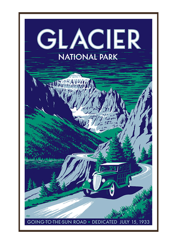 Illustration of vintage car at Glacier National Park