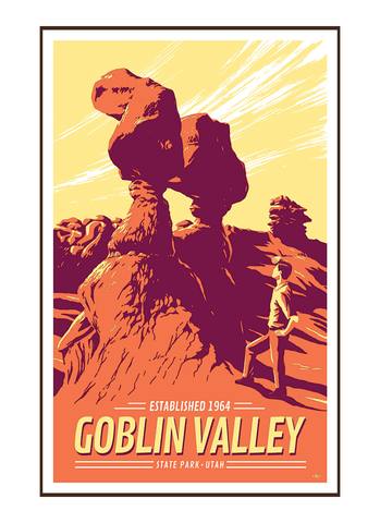 Illustration of tourist at Goblin Valley State Park