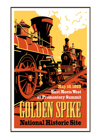 Vintage-style illustration of trains at Golden Spike National Historical Park