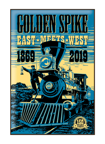 Vintage-style illustration of train at Golden Spike National Historical Park