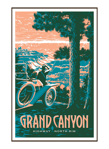 Illustration of vintage car at Grand Canyon National Park