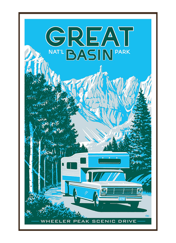 Illustration of vintage car at Great Basin National Park