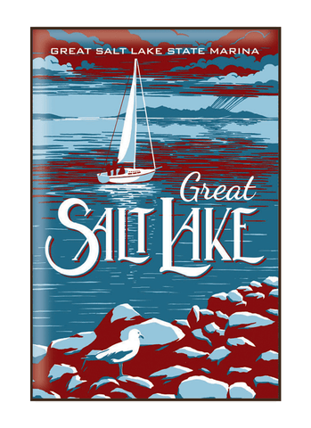 Vintage-style illustration of sail boat at the Great Salt Lake