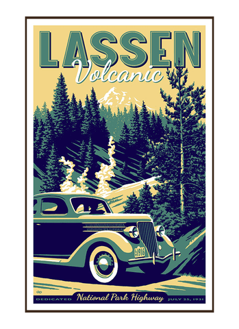 Illustration of vintage car at Lassen Volcanic National Park