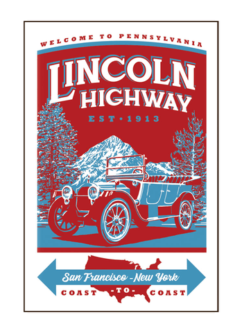 Illustration of vintage car driving on the Lincoln Highway