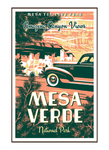 Illustration of vintage car at Mesa Verde National Park