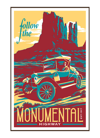 Illustration of vintage car driving on the Monumental Highway