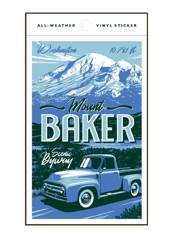 Illustration of vintage car driving by Mount Baker