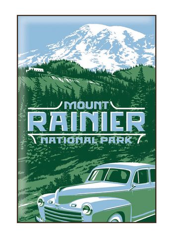 Illustration of vintage car at Mount Rainier National Park