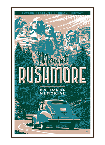 Illustration of vintage car at Mount Rushmore National Memorial
