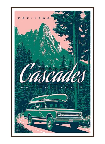 Illustration of vintage car at Liberty Mountain in North Cascades National Park