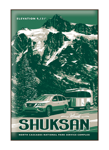 Illustration of vintage car at Mount Shuksan in North Cascades National Park