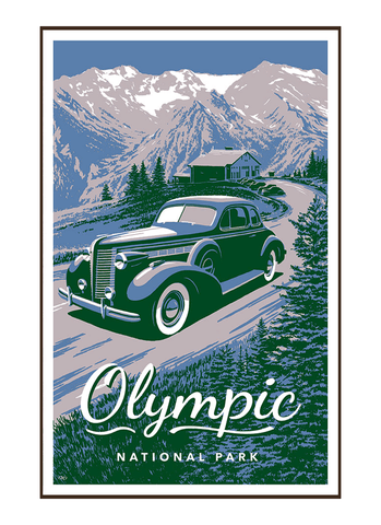 Illustration of vintage car at Hurricane Ridge in Olympic National Park