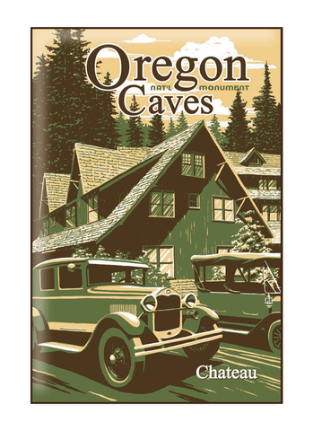 Illustration of vintage car at Oregon Caves National Monument