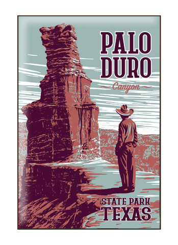 Vintage-style illustration of tourist at Palo Duro Canyon State Park