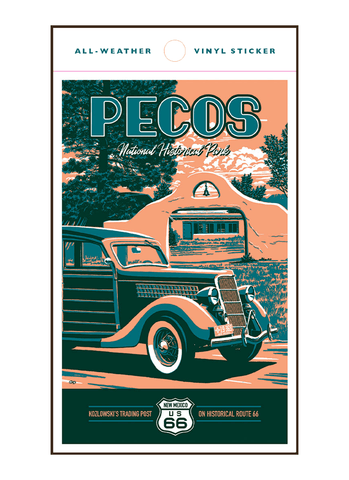 Illustration of vintage car at Pecos National Historical Park