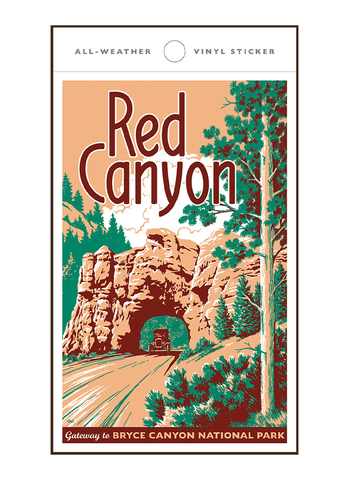 Illustration of vintage car at Red Canyon Utah