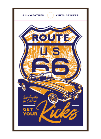 Illustration of vintage car driving on Route 66