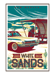 Illustration of vintage car and family picnic at White Sands National Park