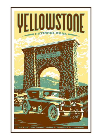 Illustration of vintage car at Roosevelt Arch in Yellowstone National Park