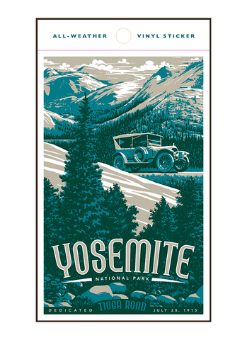 Illustration of vintage car at Yosemite National Park