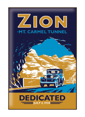 Illustration of vintage car at Zion National Park
