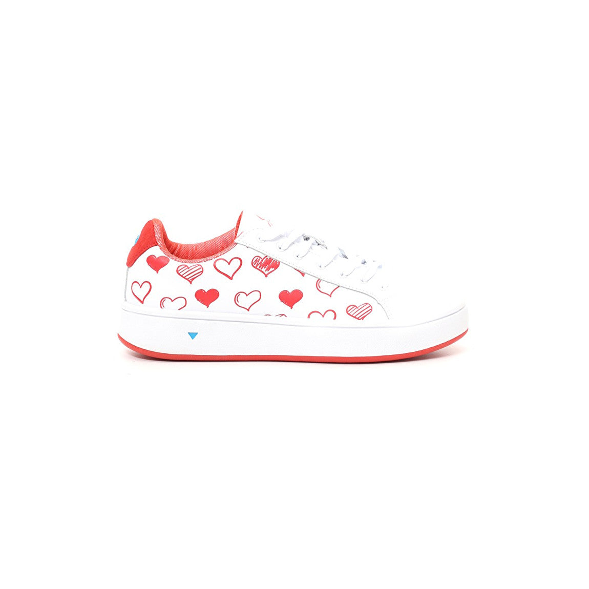 Sneakers G-STEP in pelle bianca e cuore rosso - GABS