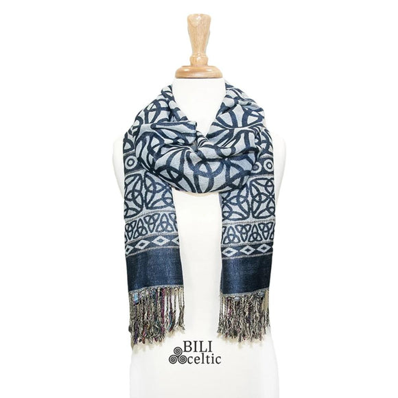 Rita Trinity Knot Pashmina Scarf - Navy/Light Blue
