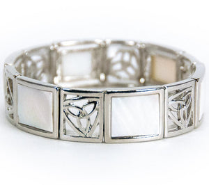 Alternating White Mother of Pearl Trinity Knot Stretch Bracelet