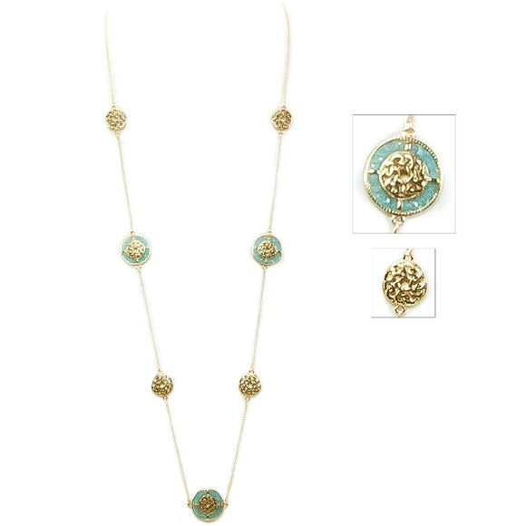 Alternating Glass Beaded Celtic Necklace - Goldtone/Turquoise