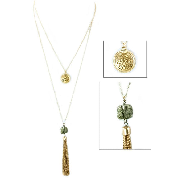 Double Layer Tassel with Stone and Trinity Knotwork Goldtone Pendant