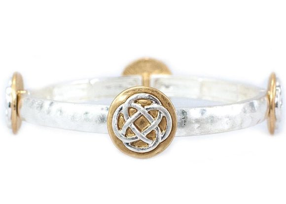 Two-Tone Celtic Knot Stacking Stretch Bracelet - Silvertone