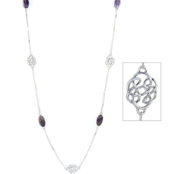 Celtic Repetitive Pattern Amethyst Necklace 40