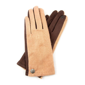 Camel Cashmere Blend Gloves with Celtic Button