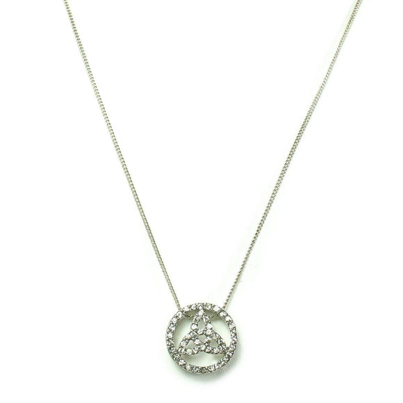 Circle Celtic Trinity Knot Crystal (Rhinestone) Necklace