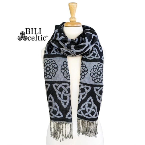 Anne Trinity Celtic Knot Pashmina Scarf - Black/Iridescent Blue