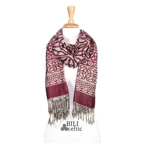 Rita Trinity Knot Pashmina Scarf - Burgundy/Light Grey