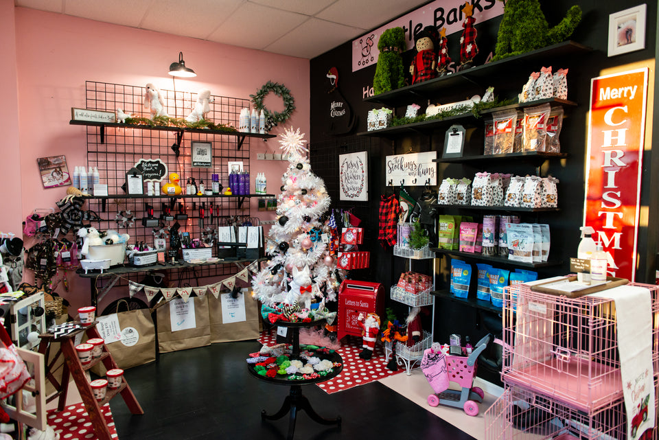 Little Barks Boutique located at 6030 Saint Andrews Road Unit B Columbia ,SC 29212 We offer all natural treats , USA made treats, Collars,Harnesses, Martingale Collars,Toys,Bath Kits , Spa products, clothes, sweaters, training aids, stocking stuffers, CBD