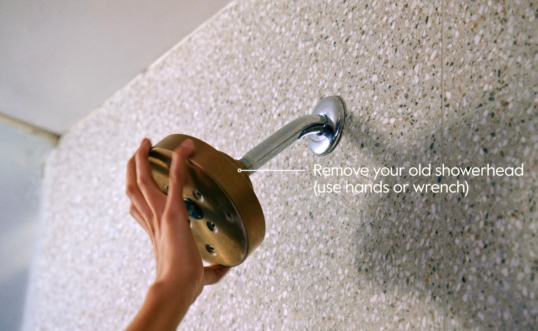 Removing old gold showerhead