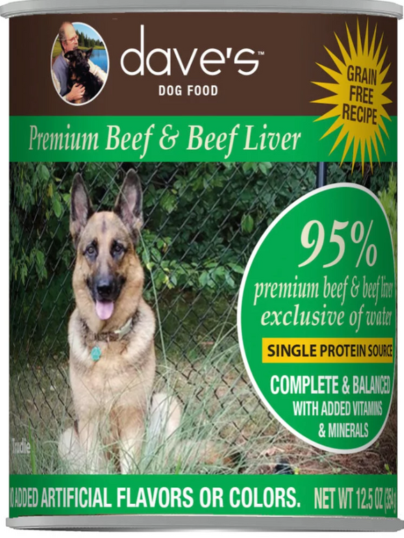 Dave's 95% Premium Beef & Beef Liver Recipe Canned Dog Food